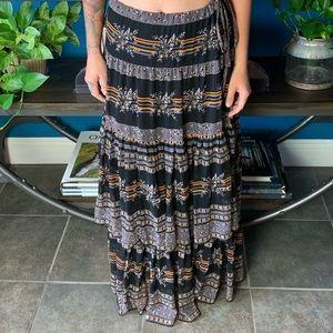 FREE PEOPLE tiered ruffle maxi skirt adjustable